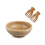 core™ BAMBOO Classic Dark Salad Bowl w/Classic Dark Salad Hands