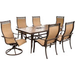 HANOVER™ OUTDOOR Monaco 7 pc. Outdoor Dining Set w/2 Swivel Chairs