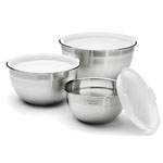 Cuisinart® Stainless Steel Mixing Bowls w/Lids - Set of 3