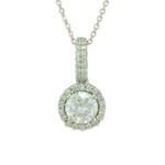 Antwerp Silver Cushion Halo Necklace w/Cubic Zirconia
