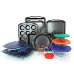 Baker's Secret® Signature 25-Pc Bakeware Set w/ Pyrex Prep and Store