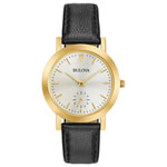 BULOVA Women's Classic Gold-Tone Watch w/Black Strap