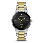 Caravelle New York by BULOVA Men's Two-Tone Watch w/Black Dial