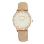 VINCE CAMUTO Women's Rose Gold-Tone Watch w/Tan Suede Strap