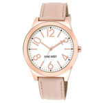 NINE WEST Women's Rose Gold-Tone Watch w/Pink Strap