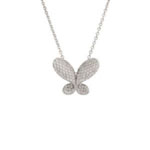 Antwerp Silver Cubic Zirconia Pave Butterfly Necklace