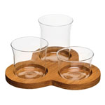Sagaform 3 Glass Bowl Serving Set w/Oak Base