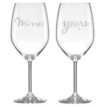 kate spade Two Of A Kind Mine & Yours Wine Glasses Set