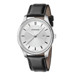 Wenger® Men's City Classic Silver-Tone Watch w/Black Leather Strap