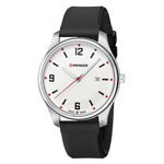 Wenger® Men's City Active Silver-Tone Watch w/Black Silicone Strap