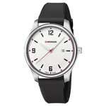 Wenger® Women's City Active Silver-Tone Watch w/Black Silicone Strap