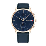 TOMMY HILFIGER Men's Rose Gold-Tone Chronograph w/Navy Blue Strap