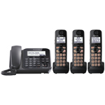 Panasonic® Corded Phone System w/3 Cordless, Answerer
